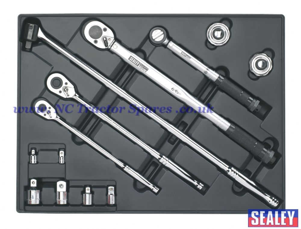 Tool Tray with Ratchet, Torque Wrench, Breaker Bar & Socket Adaptor Set 13pc